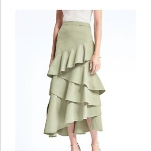Asymmetrical Maxi Skirt - 4 Tall - Olive